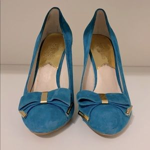 """Blue 3"""" Michael Michael Kors Heels with Bow"""